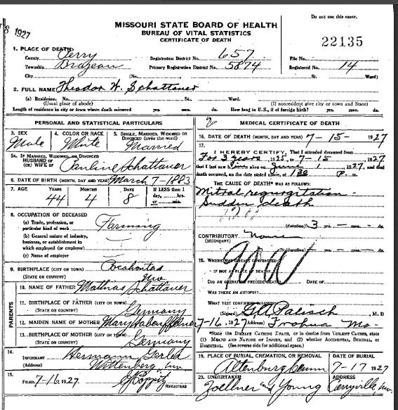Theodore Schattauer death certificate