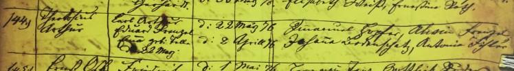 Theodosius Frentzel baptism record Grace Uniontown MO