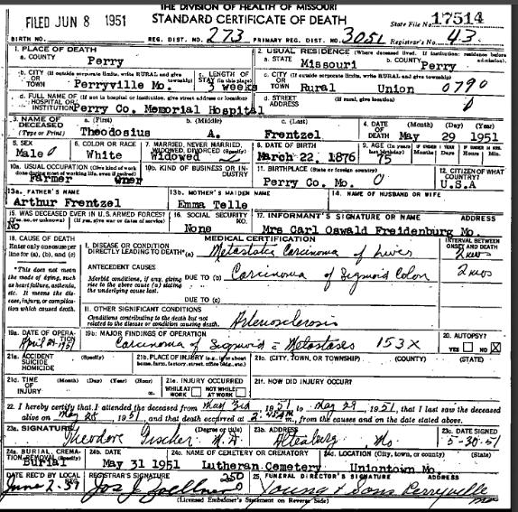 Theodosius Frentzel death certificate