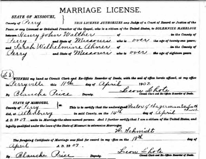 Walther Ahner marriage license