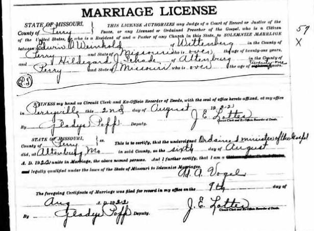 Weinhold Schade marriage license
