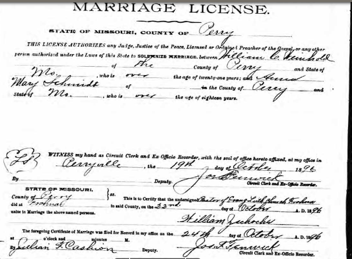 Weinhold Schmidt marriage license