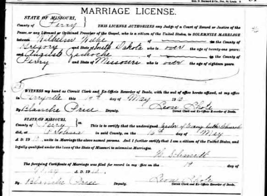 Wiehe Zschoche marriage license