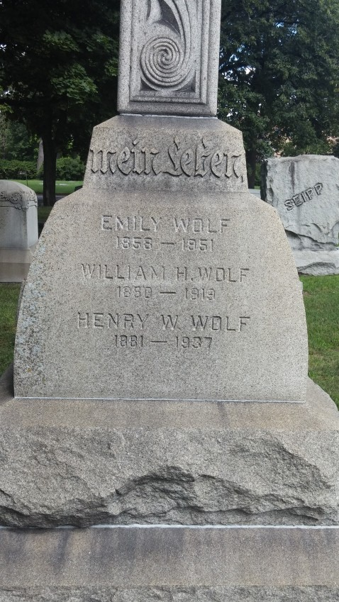 William and Emilie Wolf gravestone Concordia Forest Park IL