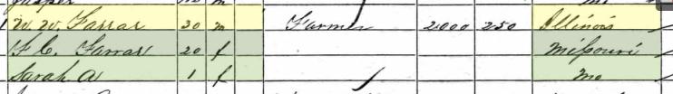 William W. Farrar 1860 census Cinque Hommes Township MO