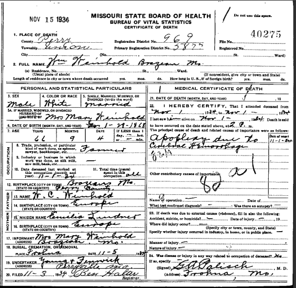 William Weinhold death certificate