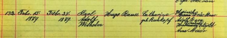 Adolph Rauss baptism record Salem Township MO