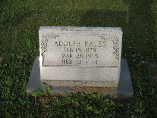 Adolph Rauss gravestone Salem Farrar MO