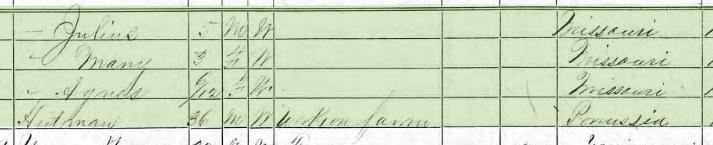 Agnes Hoffmann 1870 census 2 Brazeau Township MO