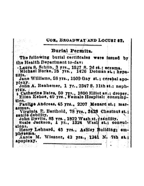 Andreas, Ernstine Pauline Gerler burial permit