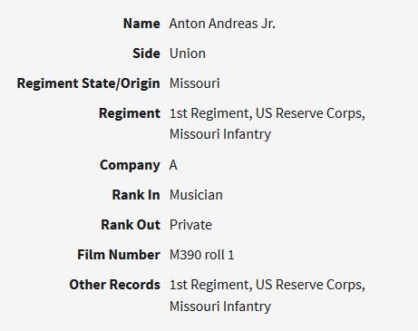 Anton Adreas Jr Civil War record