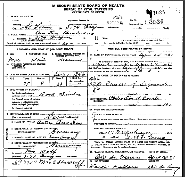 Anton Andreas death certificate