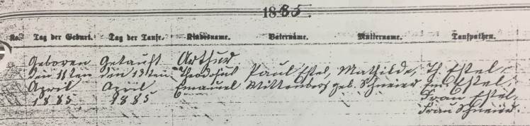 Arthur Estel baptism record Trinity Altenburg MO