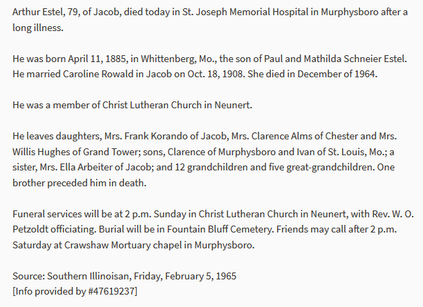 Arthur Estel obituary