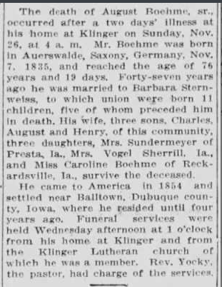 August Boehme obituary