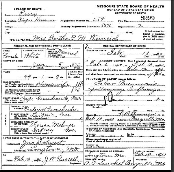 Bertha Weinrich death certificate