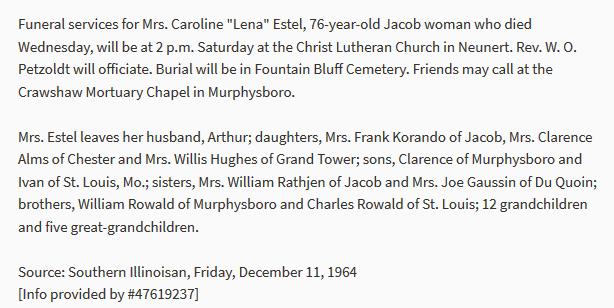 Caroline Estel obituary