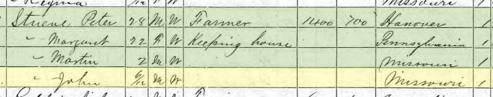Carsten Johann Stueve 1870 census Brazeau Township MO