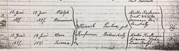 Clara Kaufmann baptism record Trinity Altenburg MO