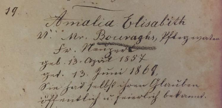 Elizabeth Burroughs baptism record