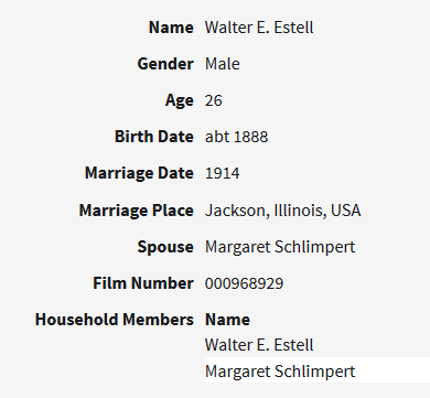 Estel Schlimpert marriage record Illinois