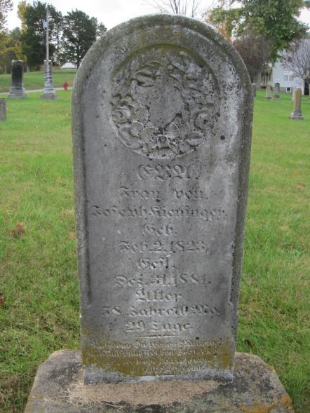 Eva Putz Kieninger gravestone Immanuel New Wells MO