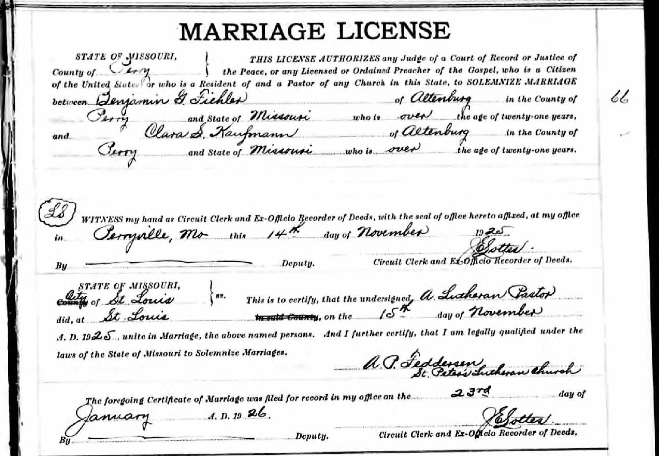 Fiehler Kaufmann marriage license