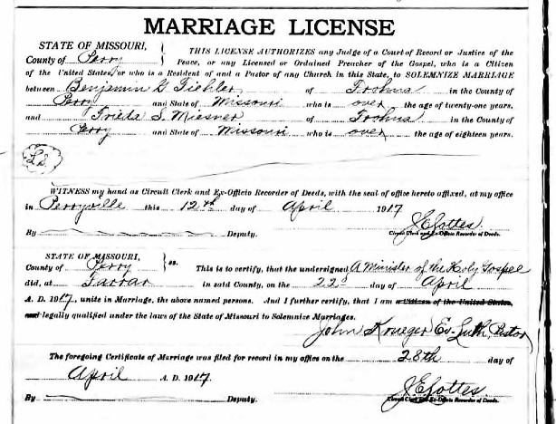 Fiehler Miesner marriage license