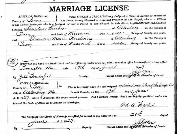 Fischer Eleonora Koestering marriage license