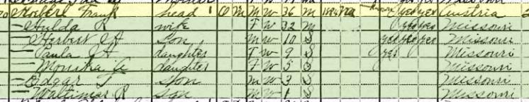 Frank Koeberl 1920 census Brazeau Township MO