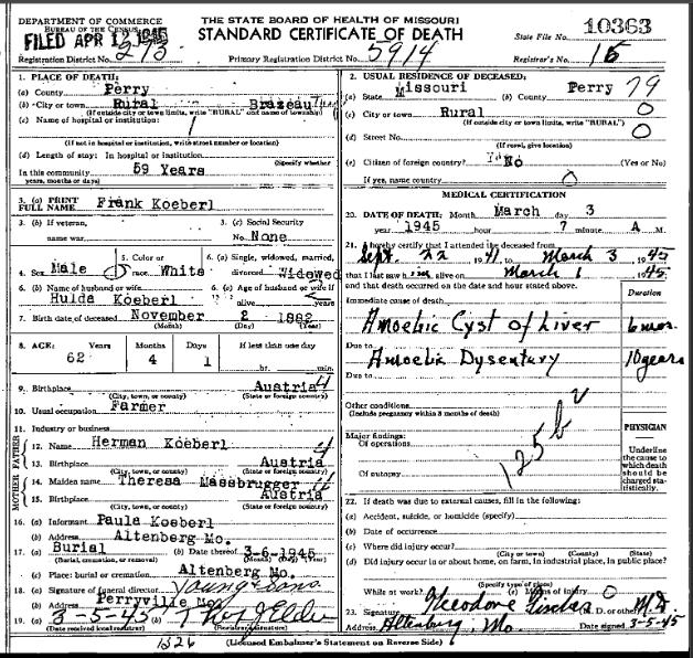 Frank Koeberl death certificate