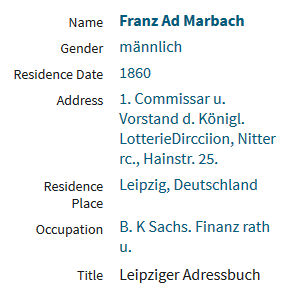 Franz Adolph Marbach address book entry transcription Leipzig