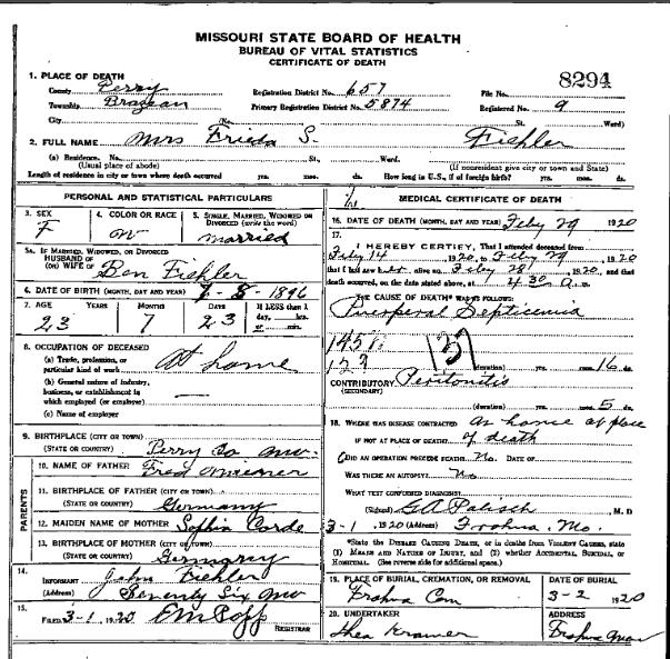 Frieda Fiehler death certificate