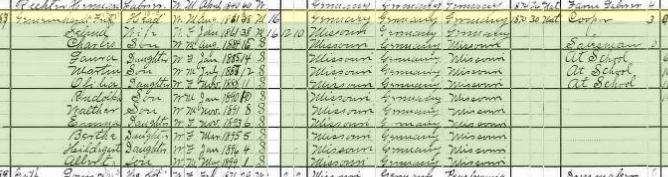 Friedrich Gemeinhardt 1900 census Brazeau Township MO