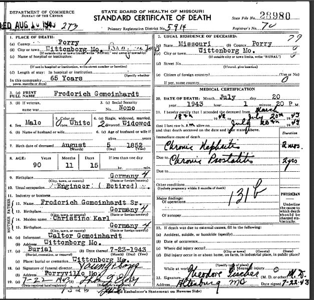 Friedrich Gemeinhardt death certificate