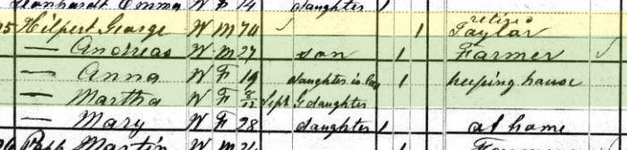 George Hilpert 1880 census Brazeau Township MO