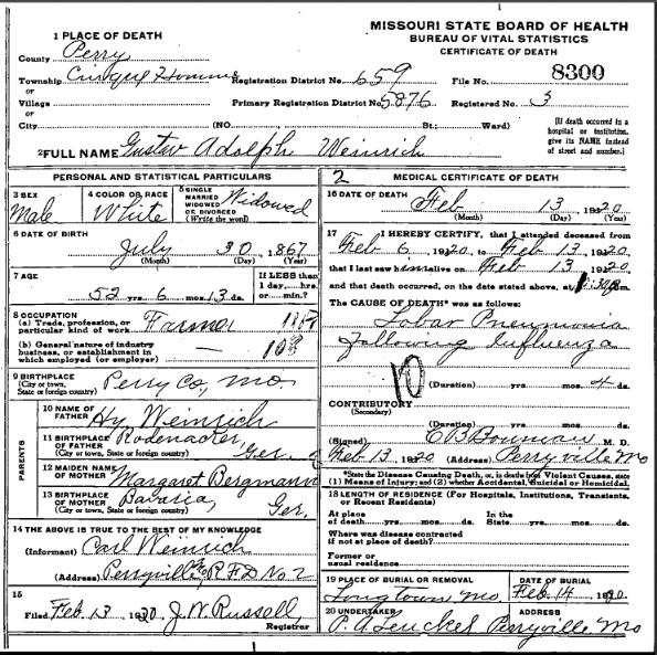 Gustav Adolph Weinrich death certificate