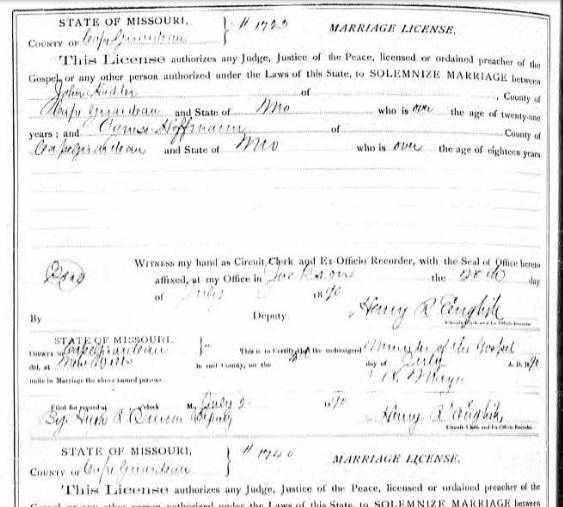 Hadler Hoffmann marriage license
