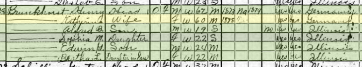 Heinrich Brunkhorst 1920 census Fountain Bluff Township IL