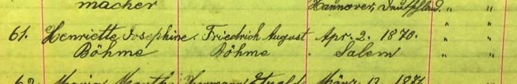 Henrietta Boehme baptism record Salem Farrar MO