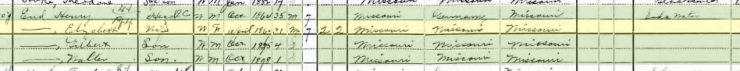Henry End 1900 census Central Township MO