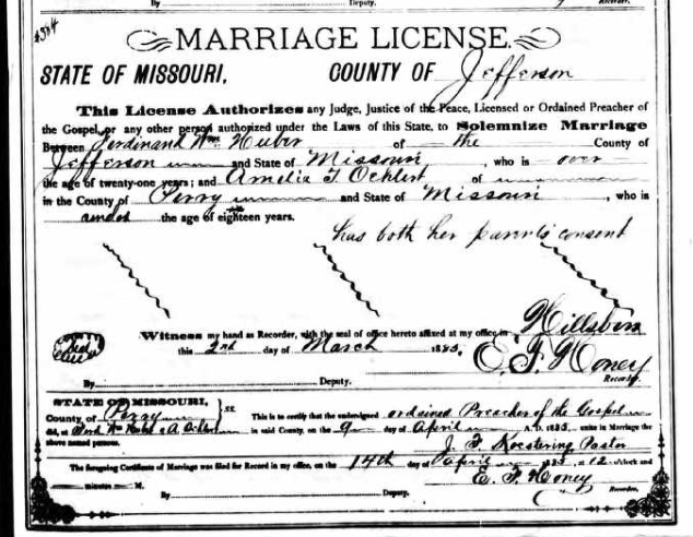 Huber Oehlert marriage license