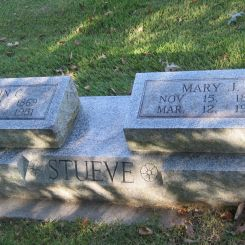 John and Mary Stueve gravestone Zion Crosstown MO