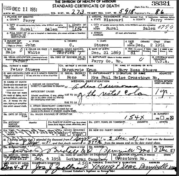 John C. Stueve death certificate