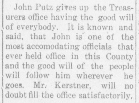 John Putz newspaper article Jan. 3, 1913