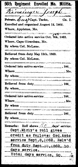 Joseph Kieninger Civil War military record