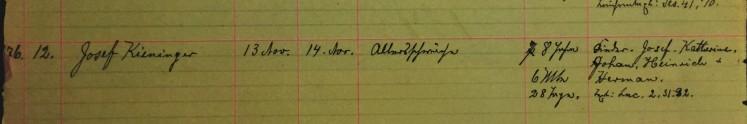 Joseph Kieninger death record - Immanuel New Wells MO