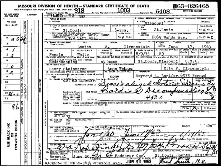 Louise Tirmenstein death certificate