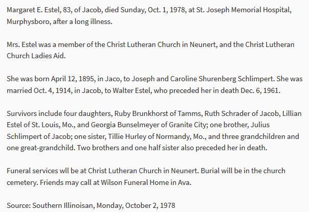 Margaret Estel obituary