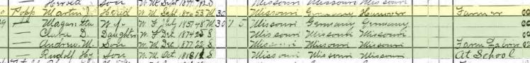 Martin Popp 1900 census Brazeau Township MO